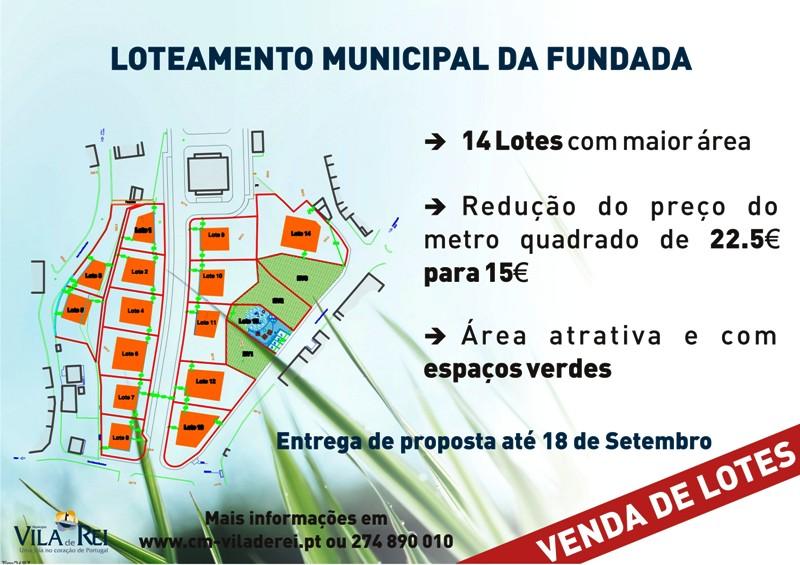 Vila de Rei |  Venda do Loteamento Municipal | Fundada |Hasta Pública