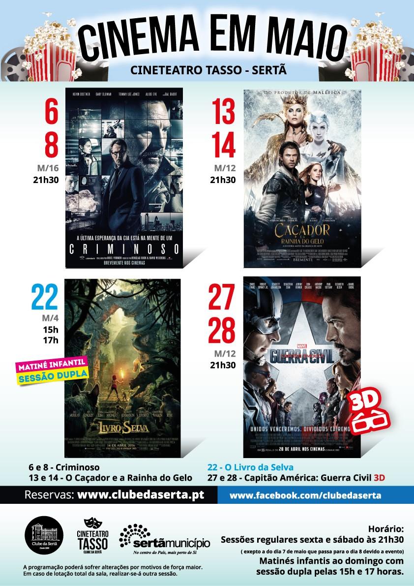 Cinema do mês de maio do Cineteatro Tasso do Clube da Sertã